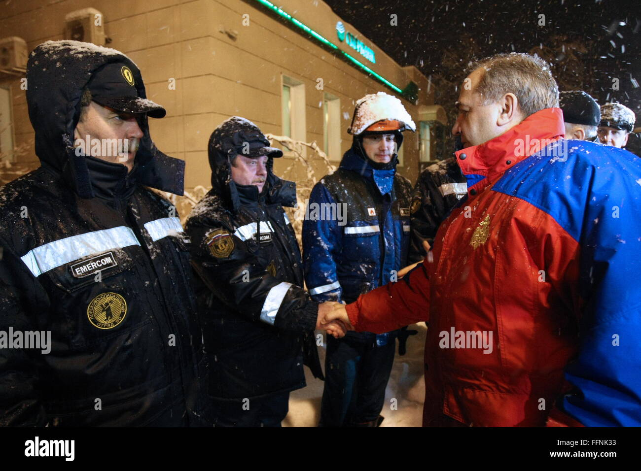 YAROSLAVL, RUSSIA. FEBRUARY 16, 2016. Russia's Emergency Situations Minister Vladimir Puchkov (R) and rescue - Stock Image