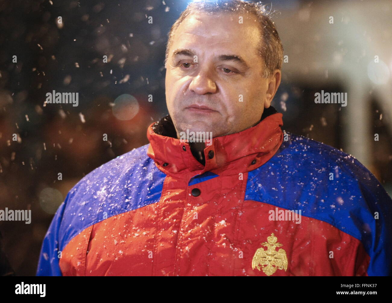 YAROSLAVL, RUSSIA. FEBRUARY 16, 2016. Russia's Emergency Situations Minister Vladimir Puchkov at the site of - Stock Image