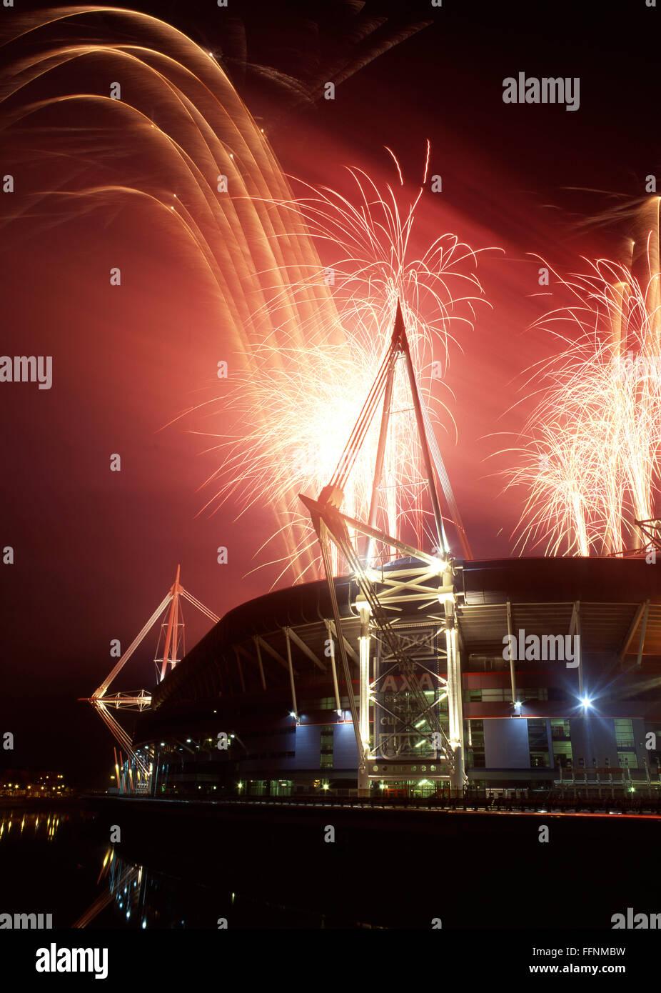 Millennium Stadium (since 2015 known as Principality Stadium) fireworks Cardiff South Wales UK - Stock Image
