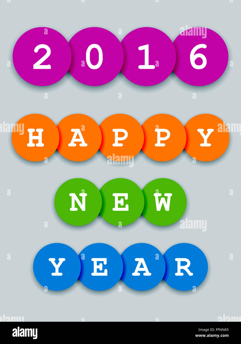 2016 Happy New Year Card On 3d Color Circles Stock Photo 95749309