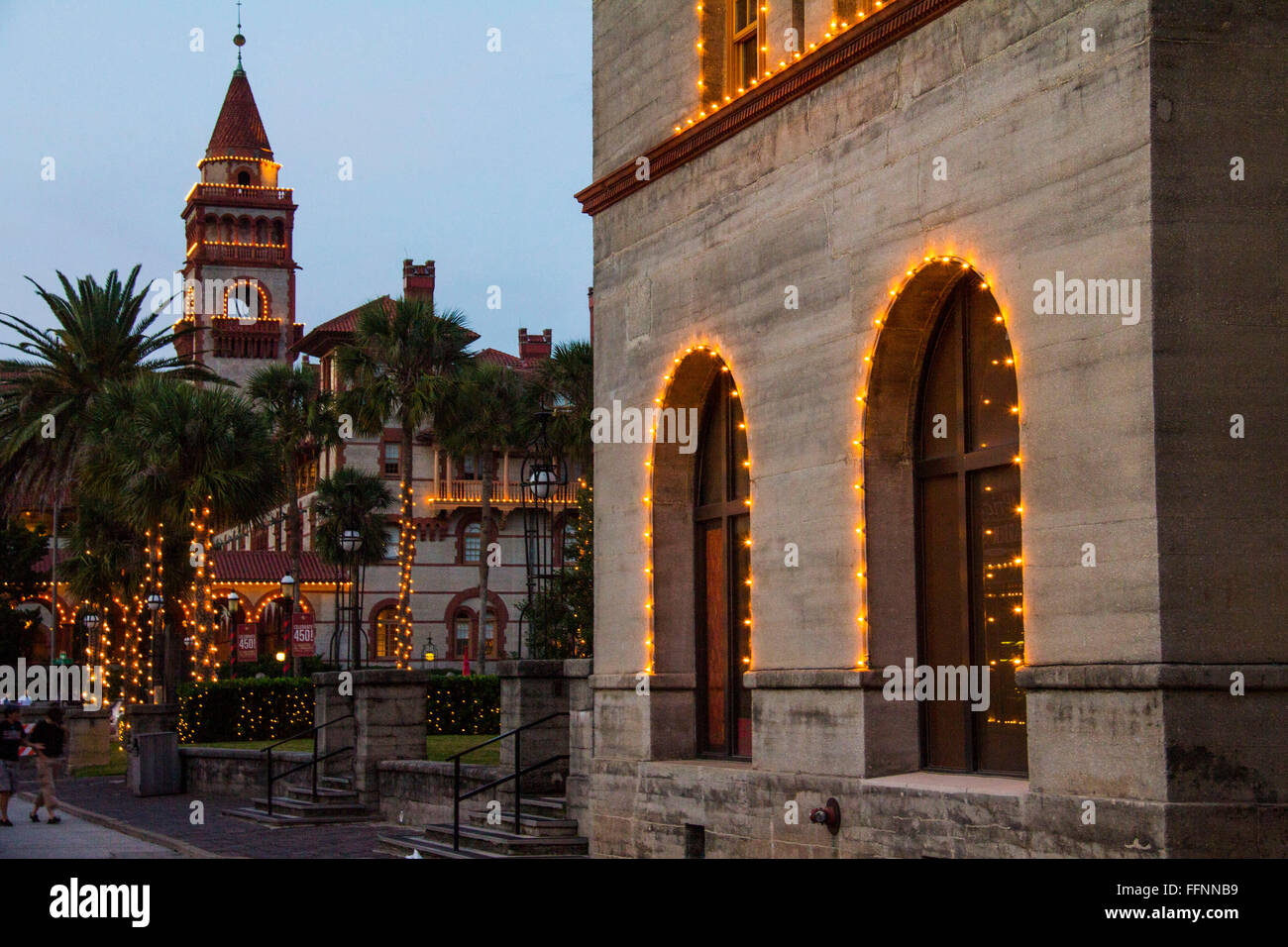 Tracing the Spanish tradition of displaying white candles at Christmas season, St Augustine's 'Nights of - Stock Image