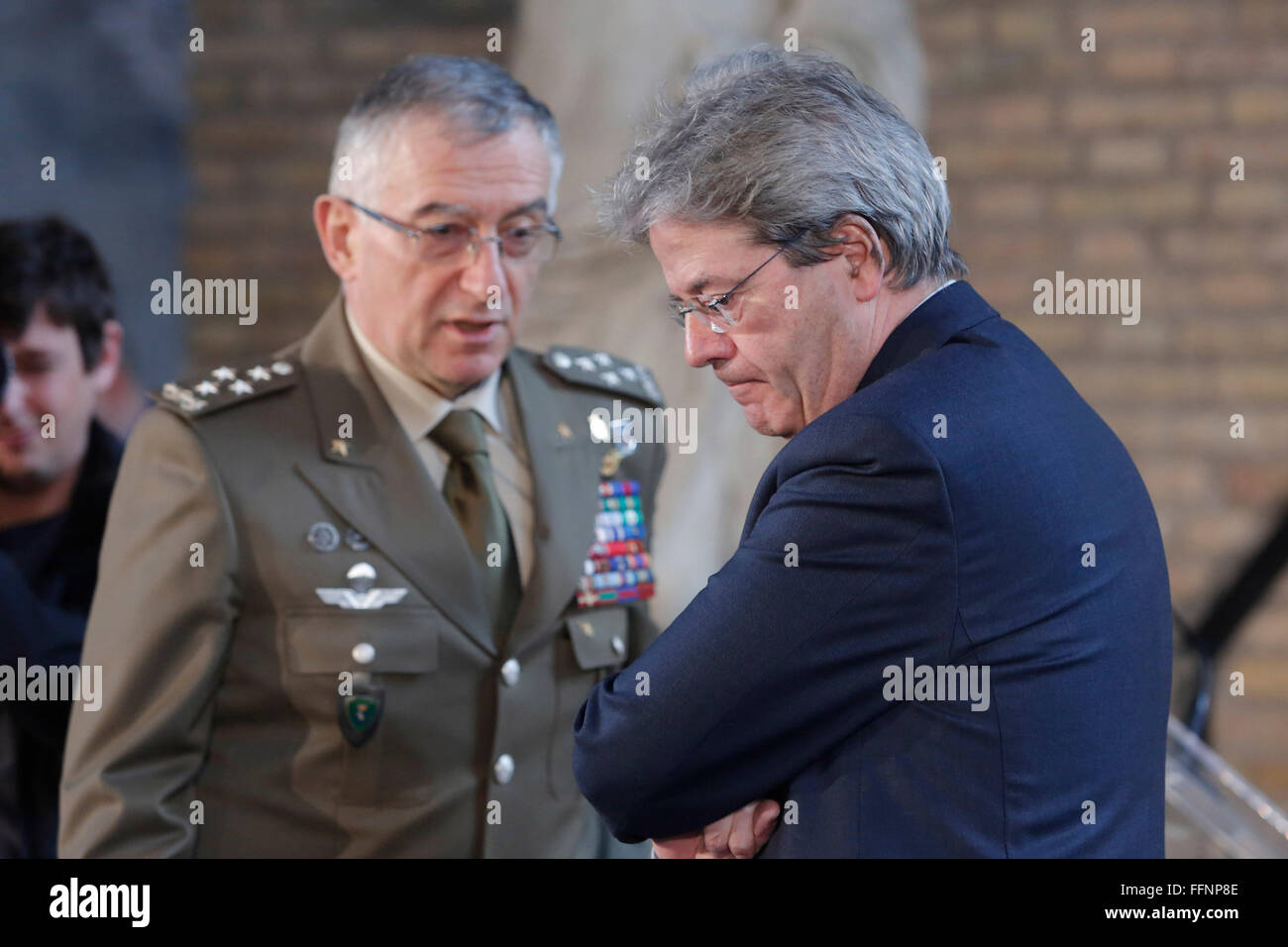Rome, Italy. 16th February, 2016. Claudio Graziano and Paolo Gentiloni Rome 16th February 2016. Baths of Diocleziano. - Stock Image