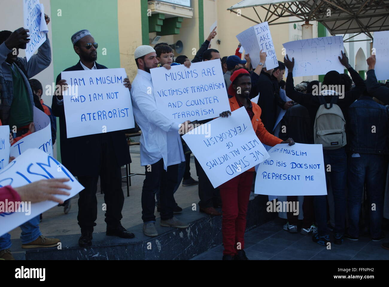 Moslem's demonstrating against terrorism on the island of Malta (11/12/2015) following last year's global - Stock Image