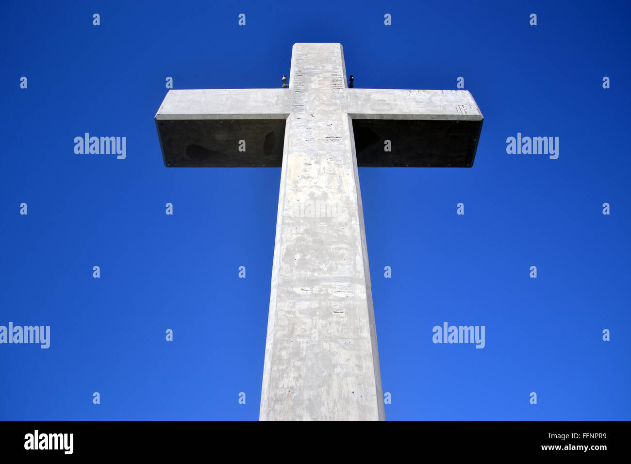 Cross on Filerimos Mount located in the Eastern Aegean Sea, Rhodes, Dodecanesse, Greece - Stock Image
