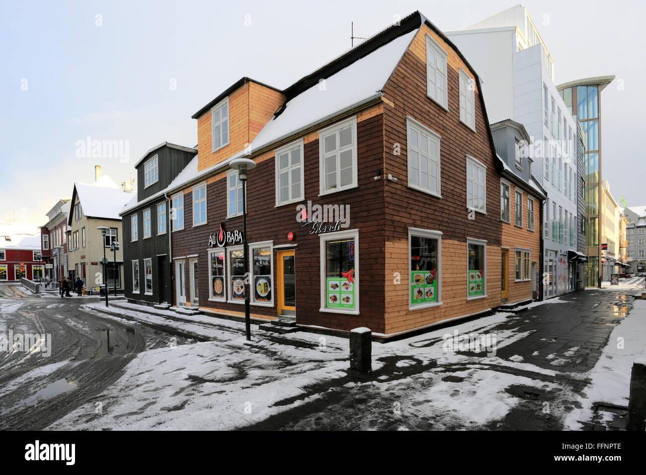 City centre streets view, Reykjavik city, Iceland. - Stock Image