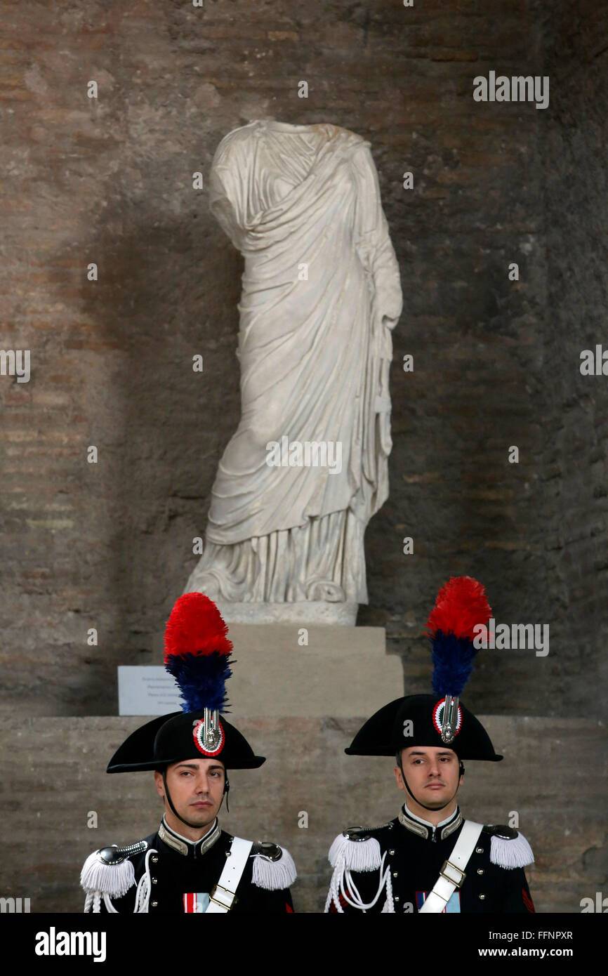 Rome, Italy. 16th February, 2016. Carabinieri Rome 16th February 2016. Baths of Diocleziano. Cerimony for the birth - Stock Image