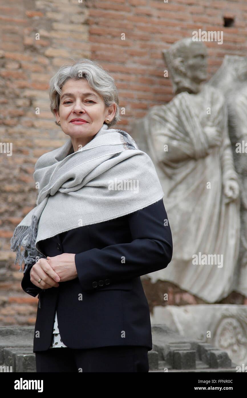 Rome, Italy. 16th February, 2016. General Director of Unesco Irina Bokova Rome 16th February 2016. Baths of Diocleziano. - Stock Image
