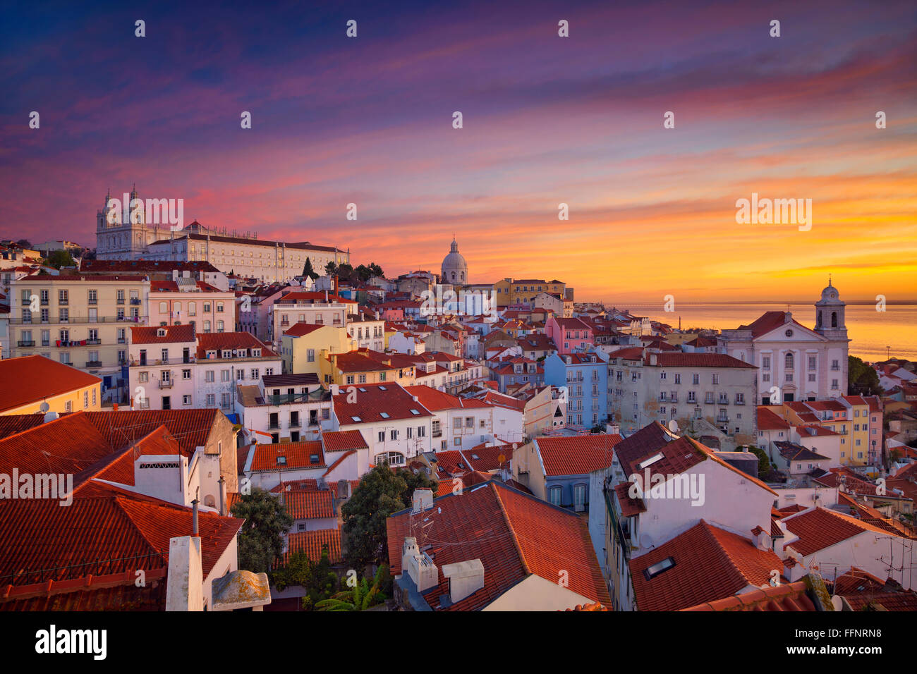 Lisbon. Image of Lisbon, Portugal during dramatic sunrise. - Stock Image