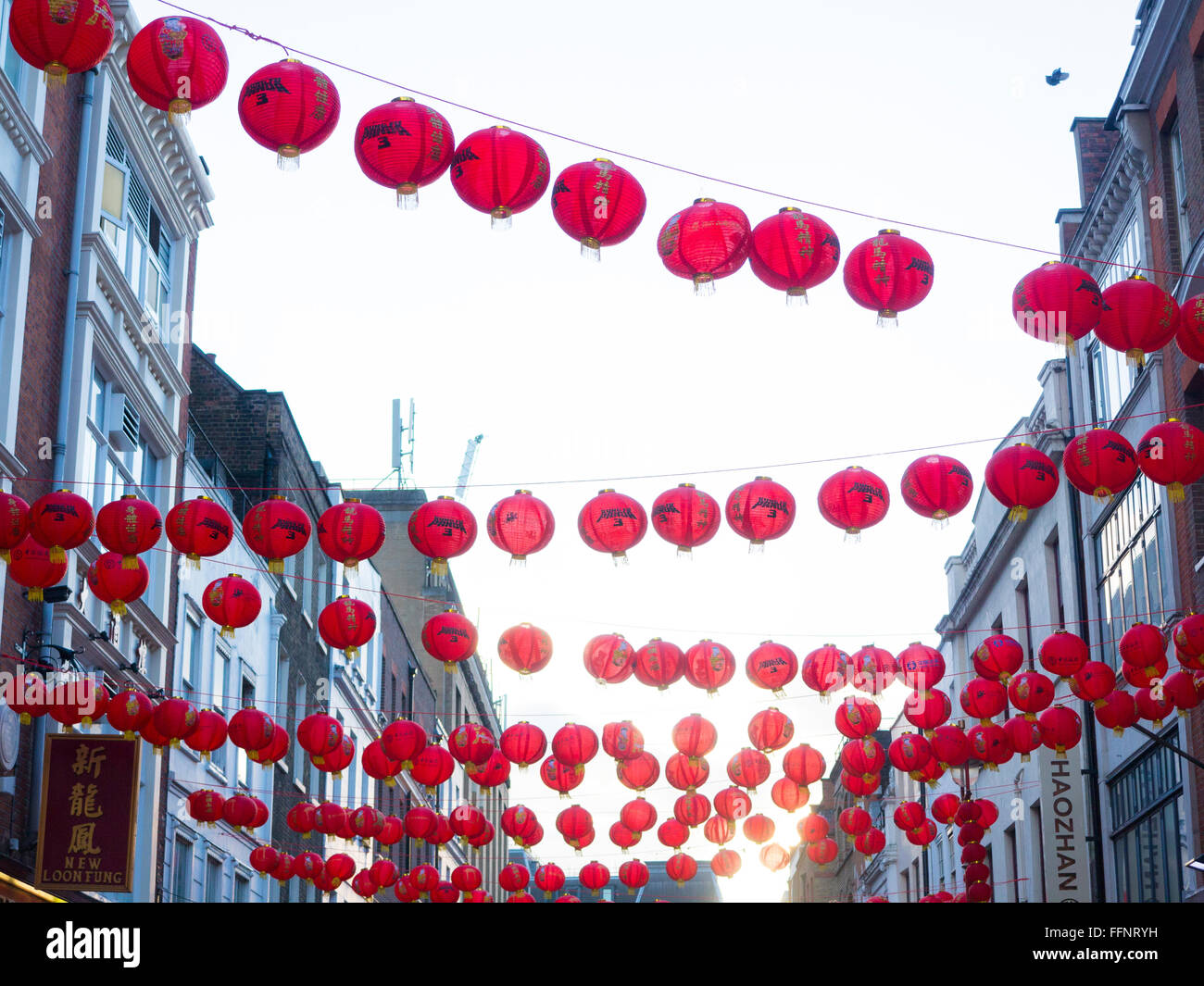Lanterns from Chinese New Year in Chinatown Stock Photo