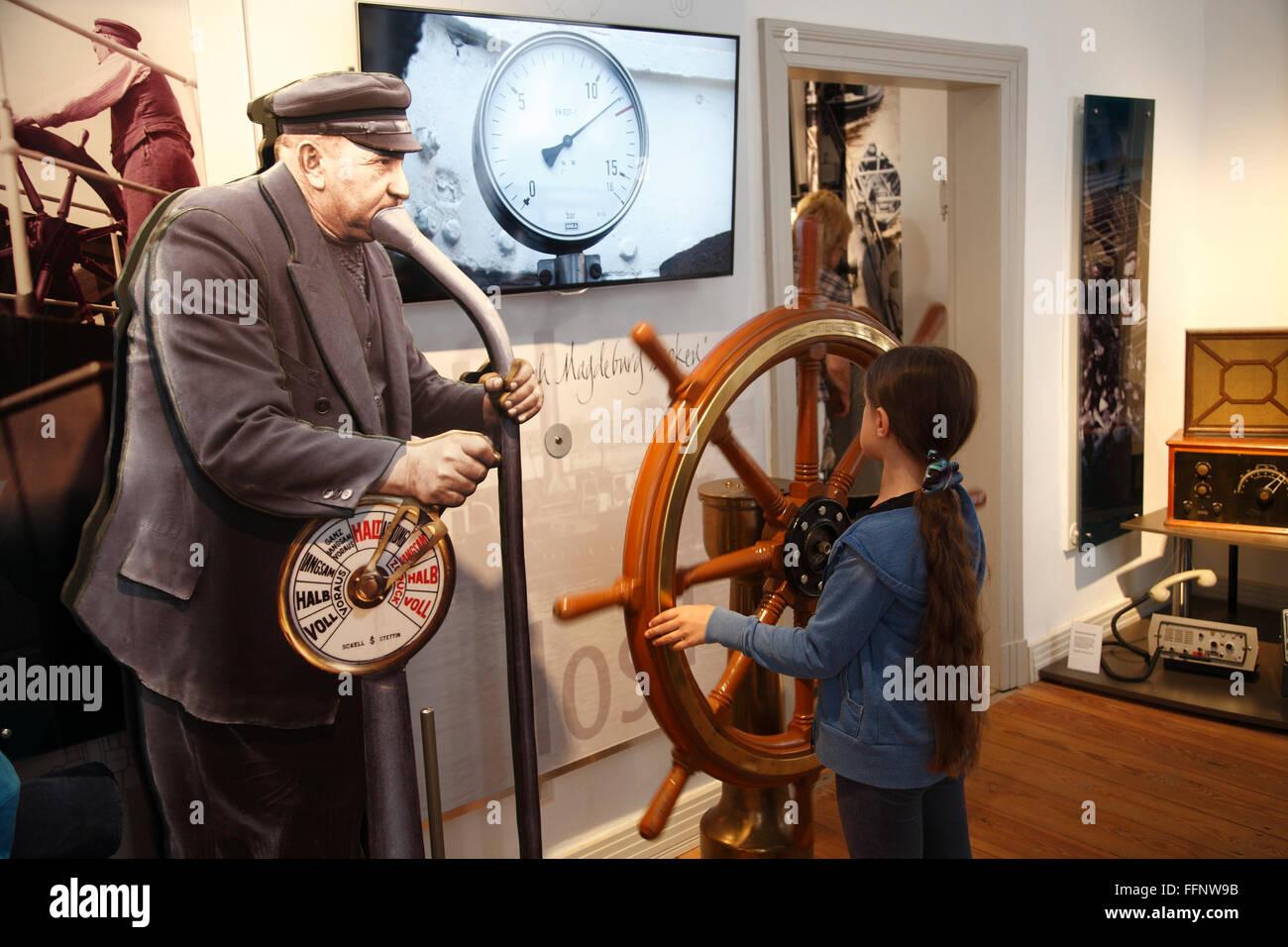 Elbschifffahrtsmuseum, Elbe shipping museum, Lauenburg, Schleswig-Holstein, Germany, Europe - Stock Image