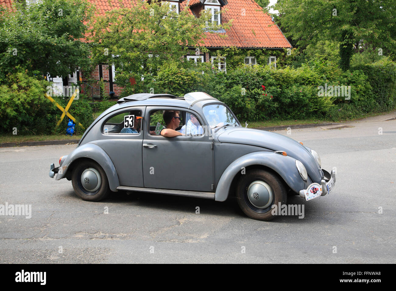 Oldtimer-Rallye, VW Beetle, Landkreis Lueneburg, Lower Saxony, Germany, Europe - Stock Image