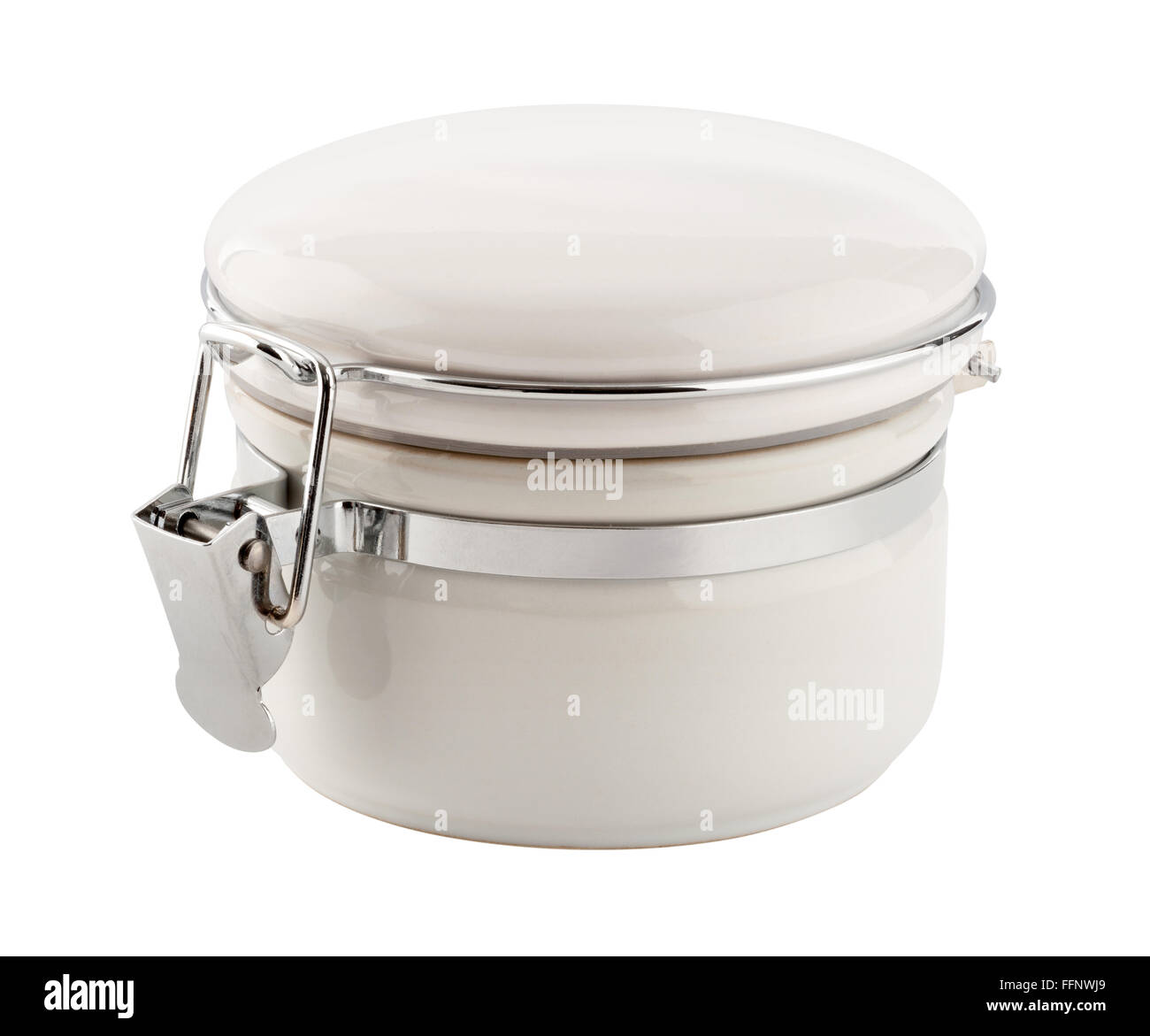 White Ceramic Canister with Metal Clamp. The image is a cut out, isolated on a white background. - Stock Image