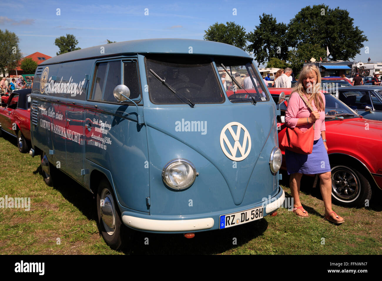 VW-Bus, Oldtimer meeting, Bleckede / Elbe, Lower Saxony, Germany, Europe - Stock Image