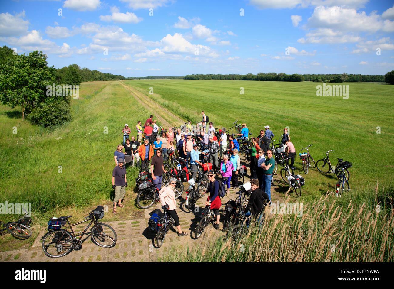 guided bike-tour GRUENES BAND near Volzendorf, Wendland, former border to DDR, Lower Saxony, Germany, Europe - Stock Image