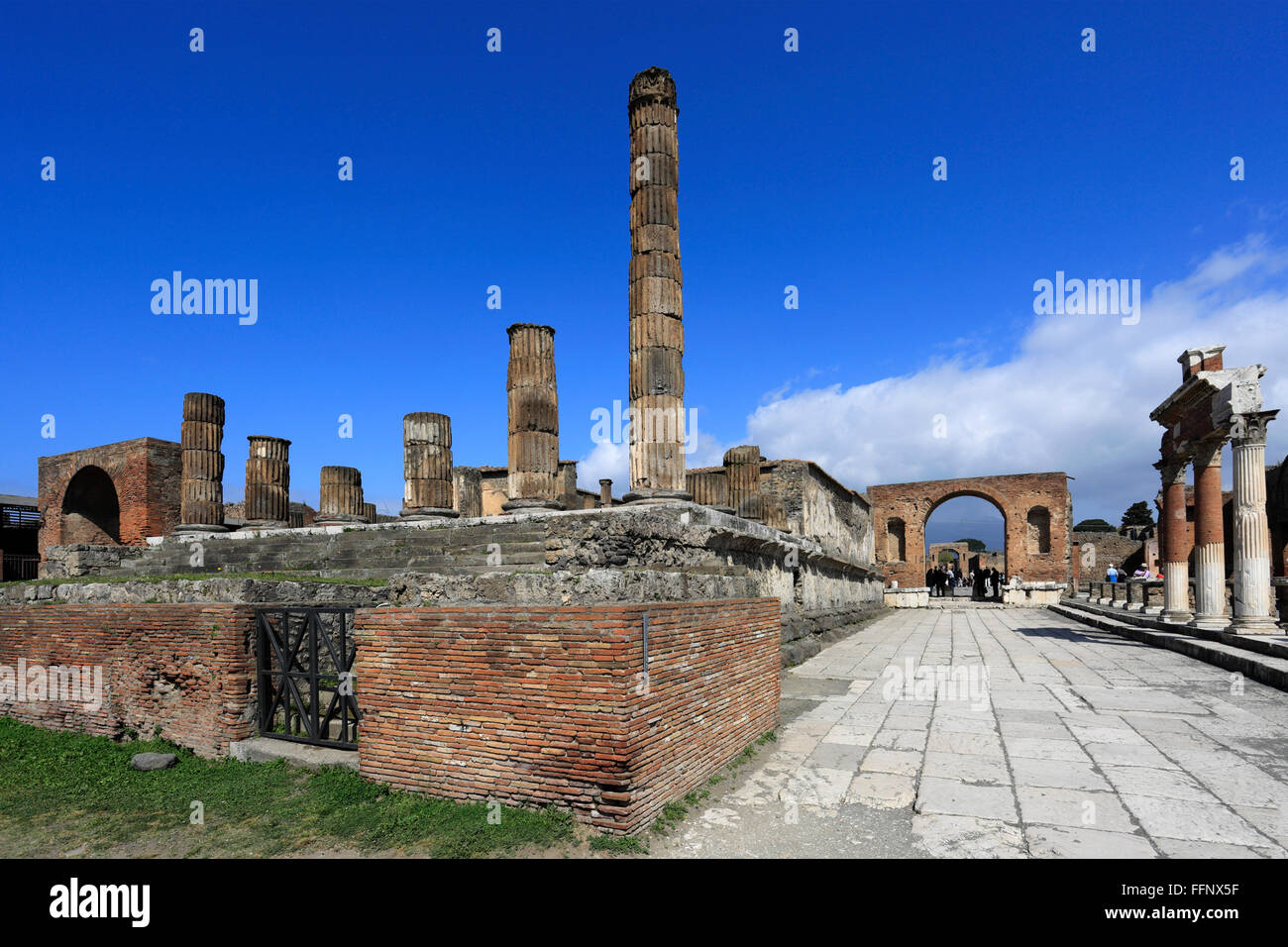 The Forum area of Pompeii, the Roman city buried in lava near Naples city, UNESCO World Heritage List 1997, Campania - Stock Image