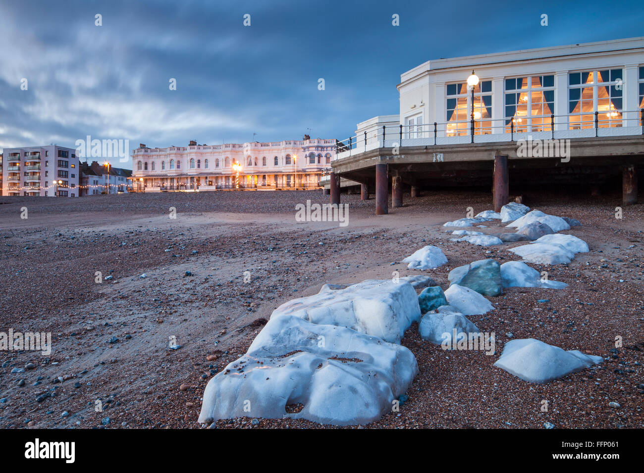 Winter evening at Worthing beach, West Sussex, England. Stock Photo