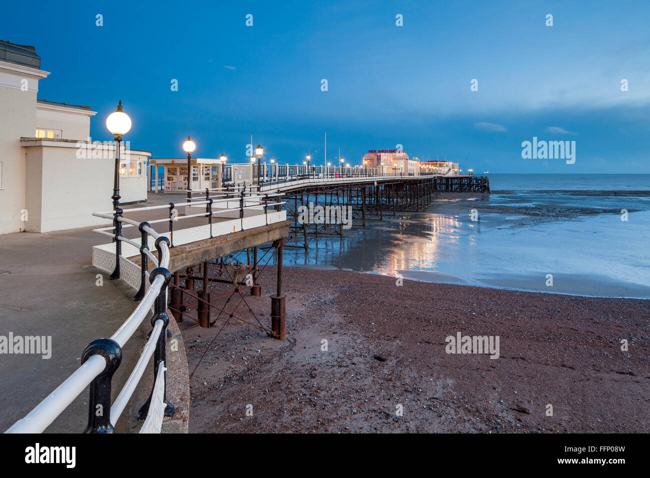 Winter evening at Worthing Pier, West Sussex, England. - Stock Image
