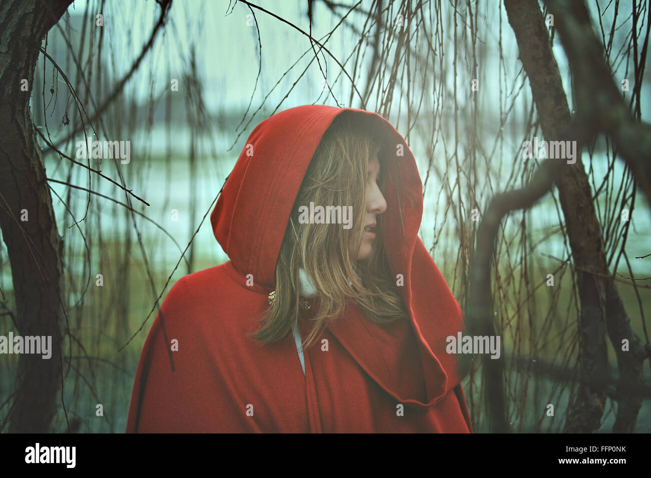 Cold portrait on a foggy day . Sadness conceptual - Stock Image