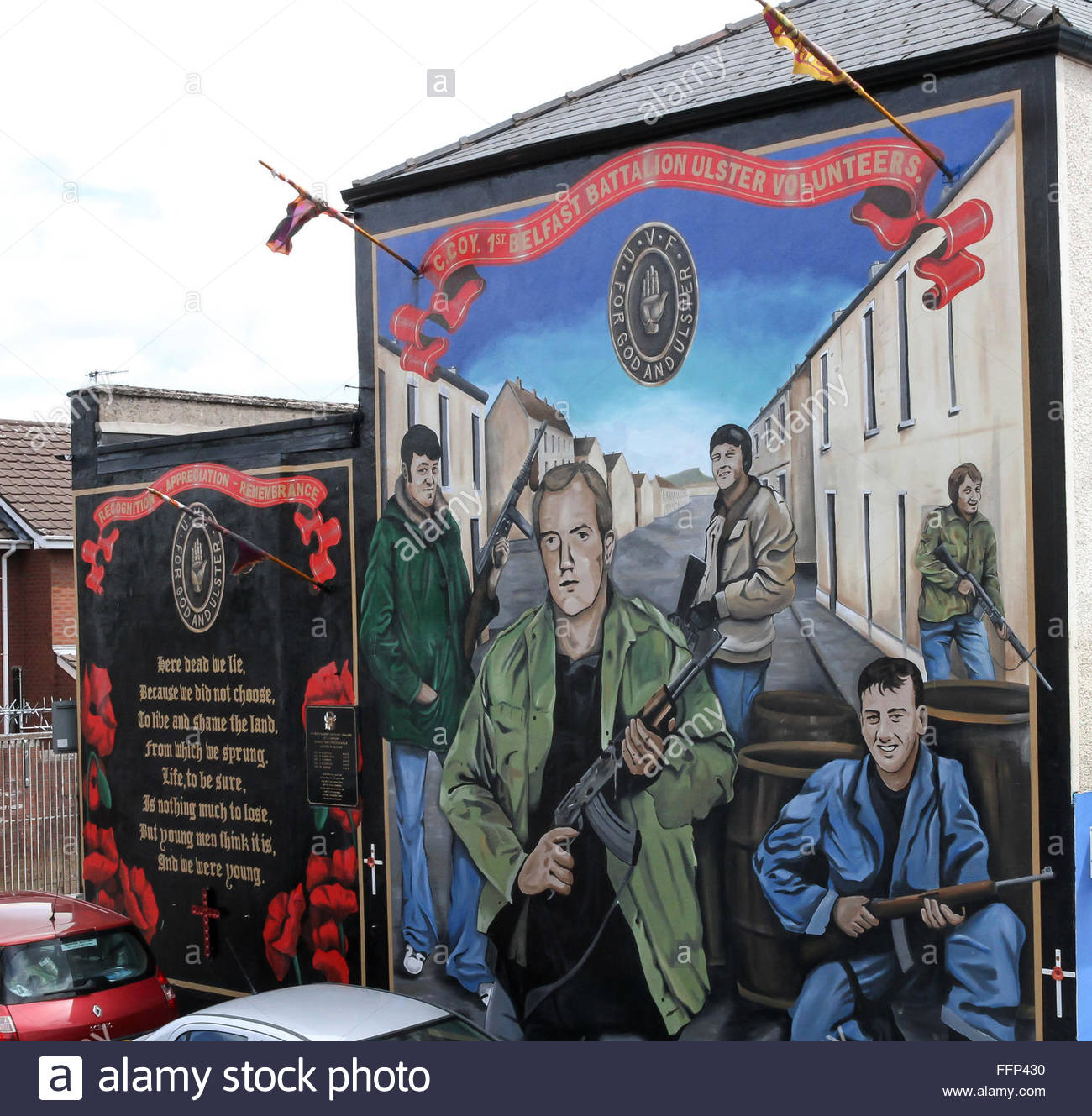 Ulster Volunteer Force mural at Carnan Street on the Shankill Road, Belfast. Editorial use only. - Stock Image