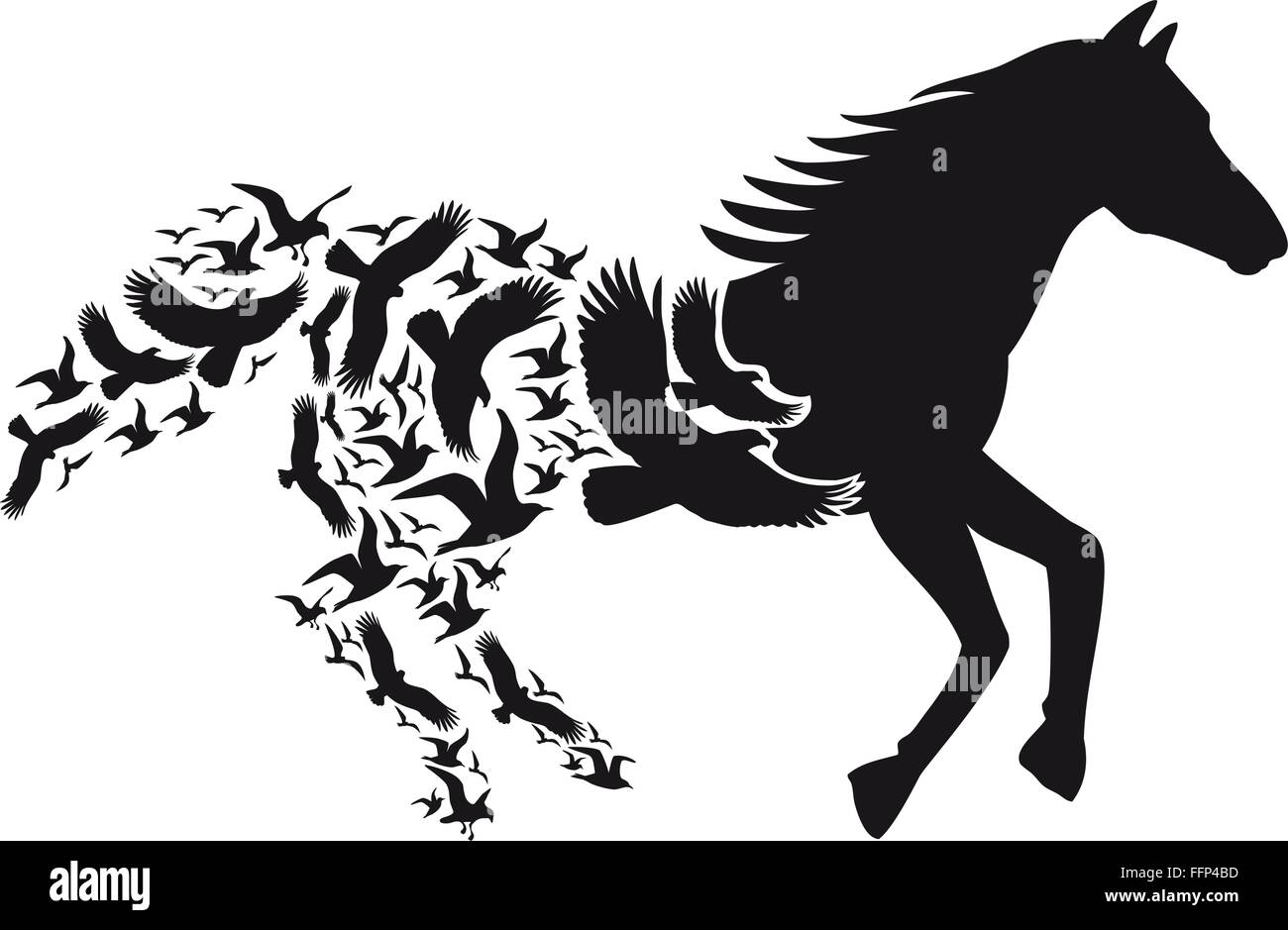 black horse silhouette with flying birds vector illustration stock