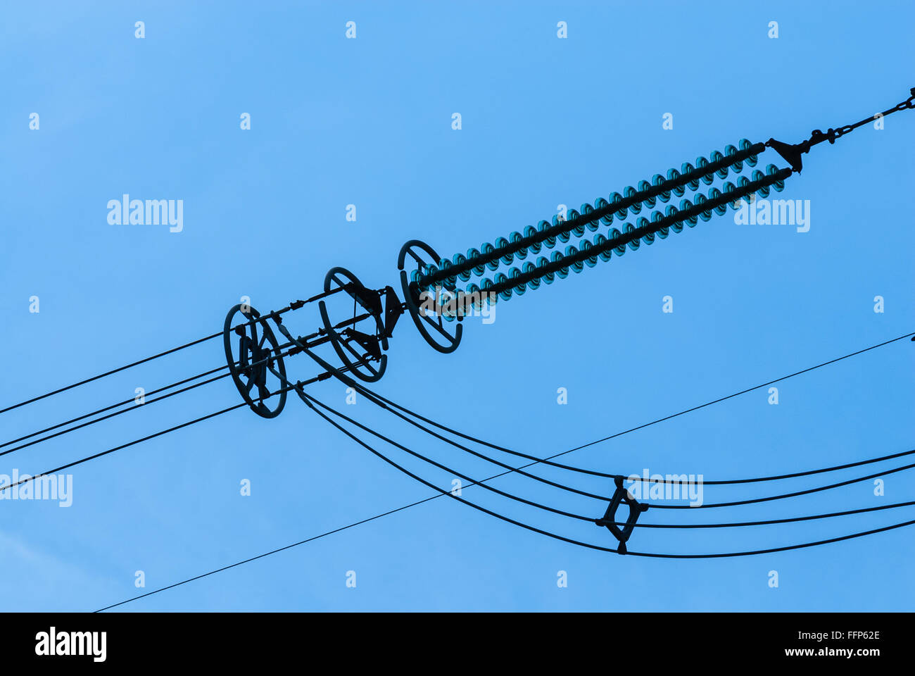 sky phone line wiring diagram close up of electrical insulator on high voltage power lines  with  high voltage power lines