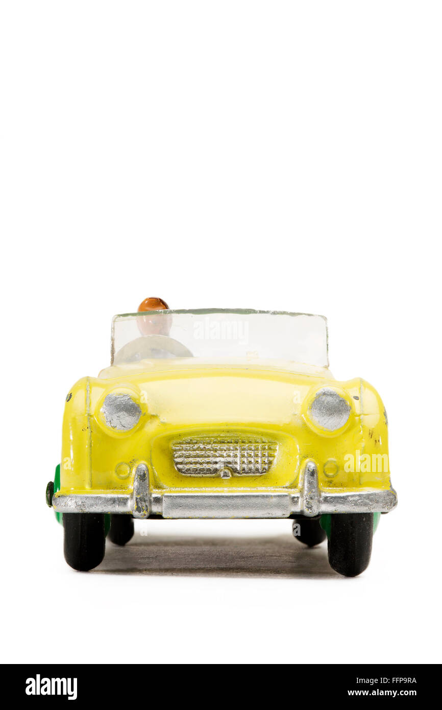 Vintage Triumph TR2 Dinky Toy sports car 105 - Stock Image