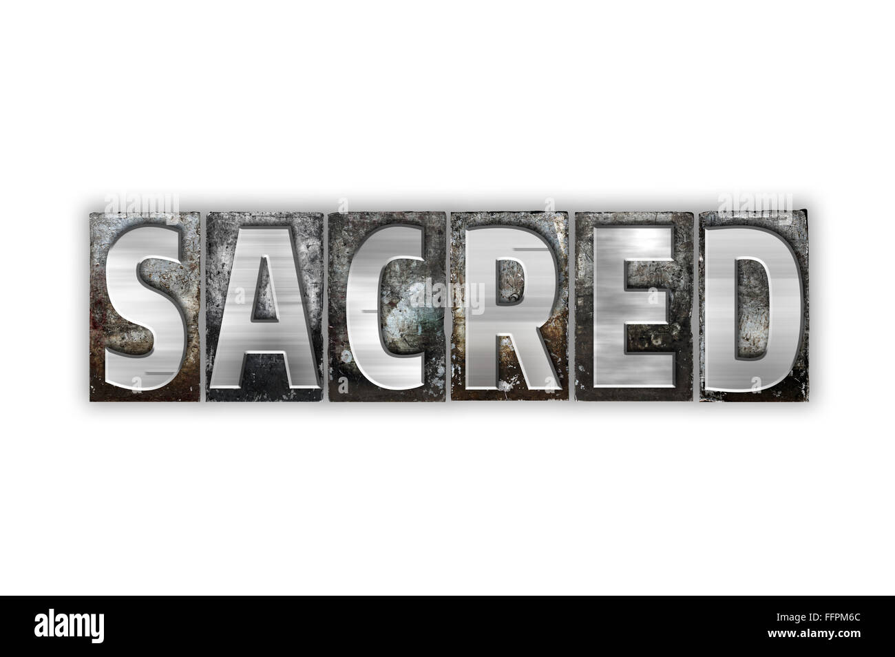 The word 'Sacred' written in vintage metal letterpress type isolated on a white background. - Stock Image