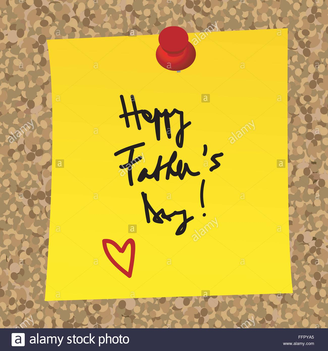 paper note with happy fathers day message on a cork board