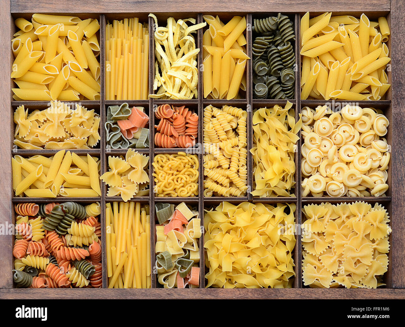 Pasta, various types of pasta in a type case - Stock Image