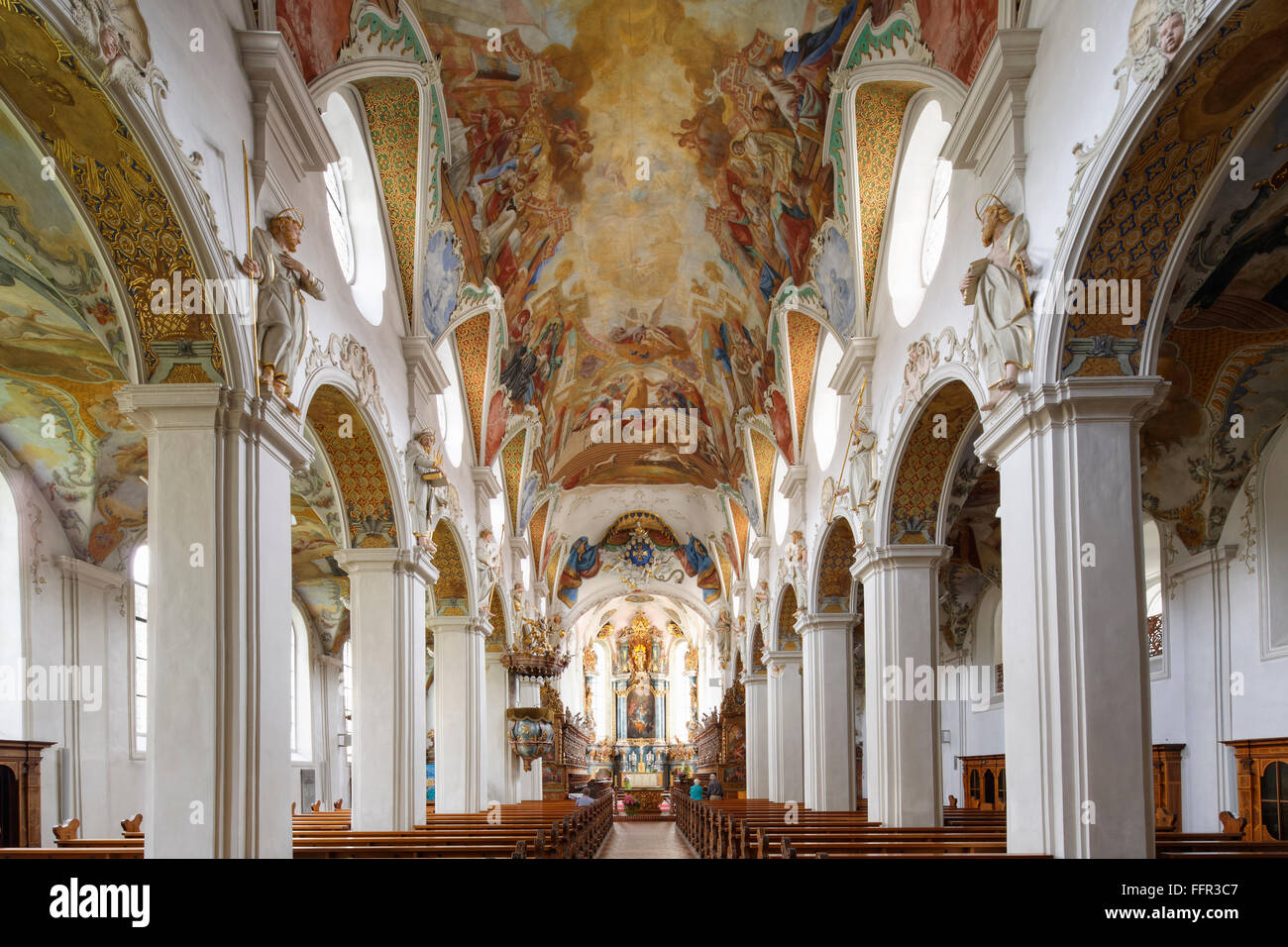 Klosterkirche St. Magnus with ceiling fresco, Schussenried Abbey, Bad Schussenried, Upper Swabia, Swabia, Baden - Stock Image