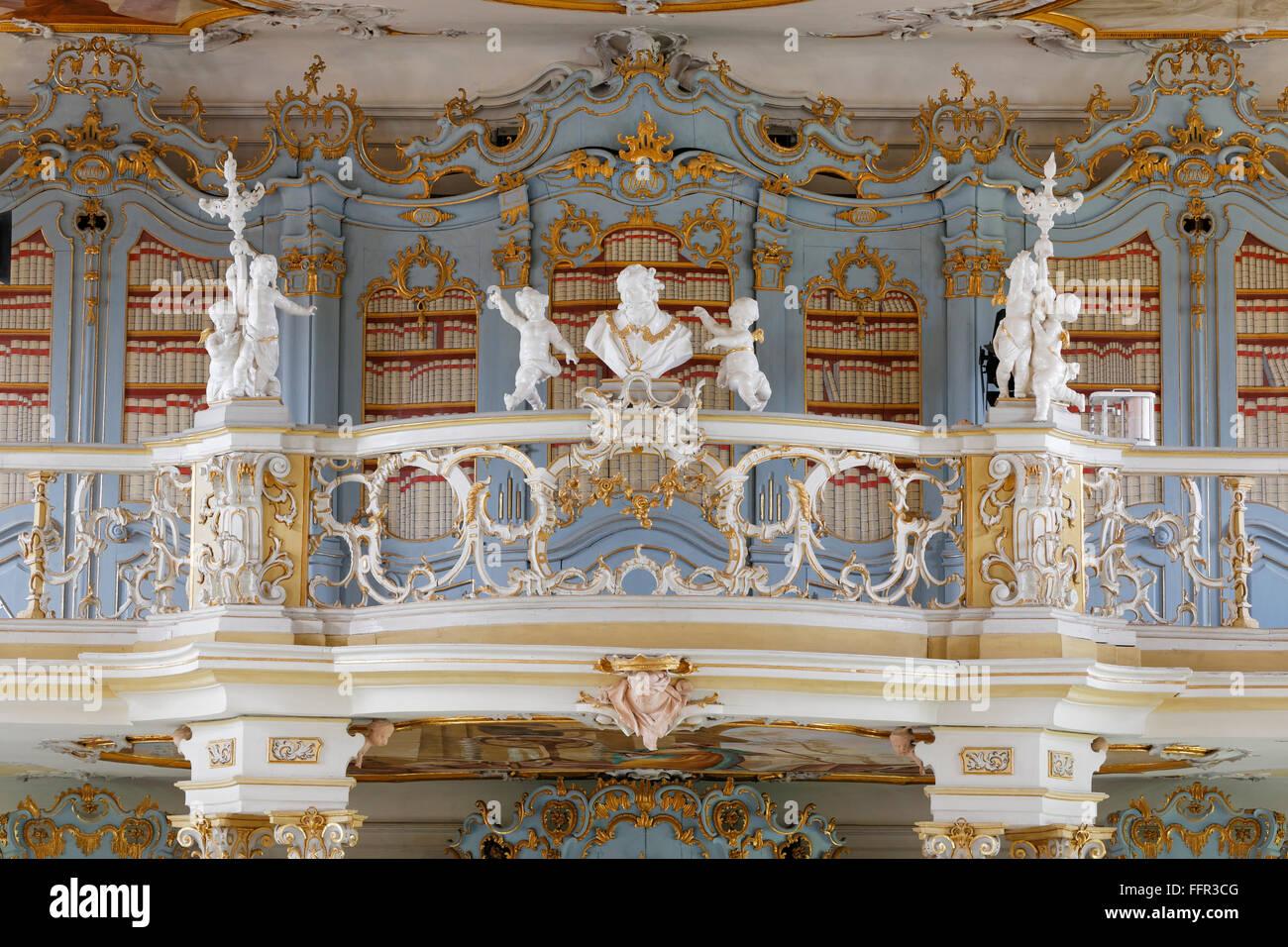 Gallery, Rococo library, Schussenried Abbey, Bad Schussenried, Upper Swabia, Swabia, Baden-Württemberg, Germany - Stock Image