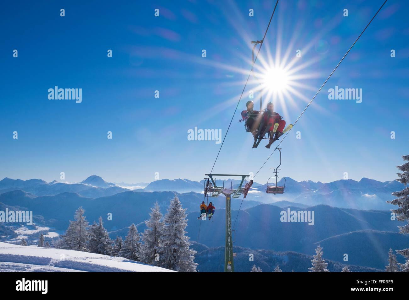 Finstermünz chairlift, ski resort Brauneck, Lenggries, Isarwinkel, Bavarian Prealps, Upper Bavaria, Bavaria, - Stock Image
