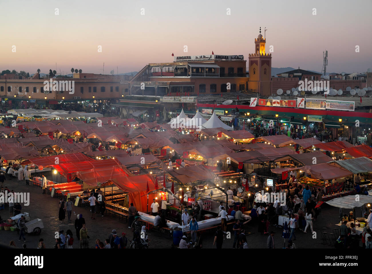 Jemaa el-Fna, square for street entertainers, Marrakech, Marrakech-Tensift-Al Haouz, Morocco - Stock Image