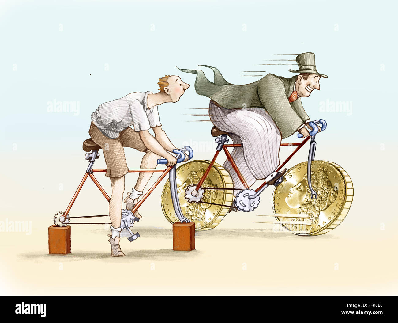 The bike has rich big wheels in the form of currency, the bike has poor brick instead of wheels - Stock Image