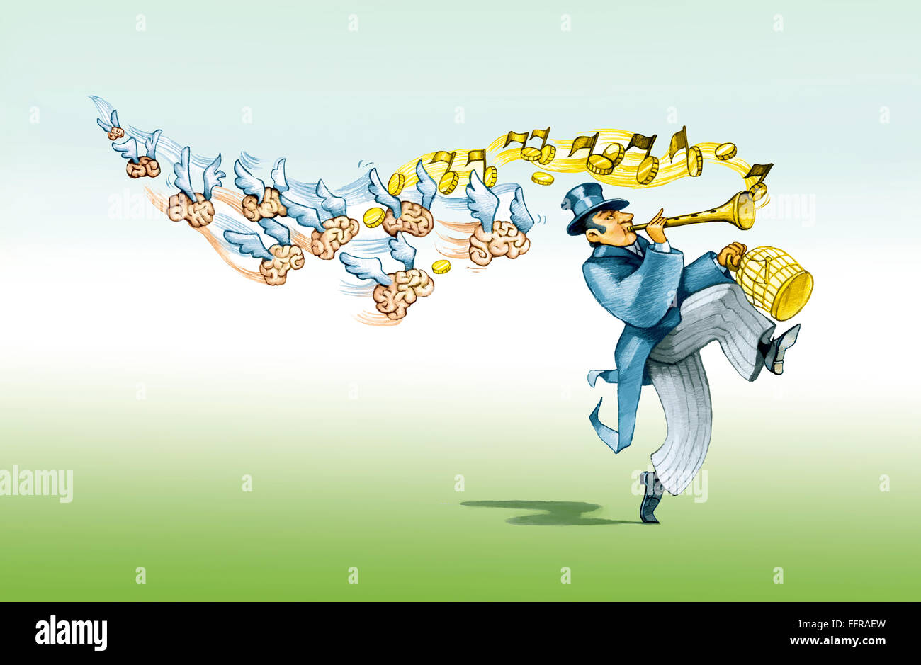 a financier like the Pied Piper brings with him to imprison the minds playn a money song - Stock Image