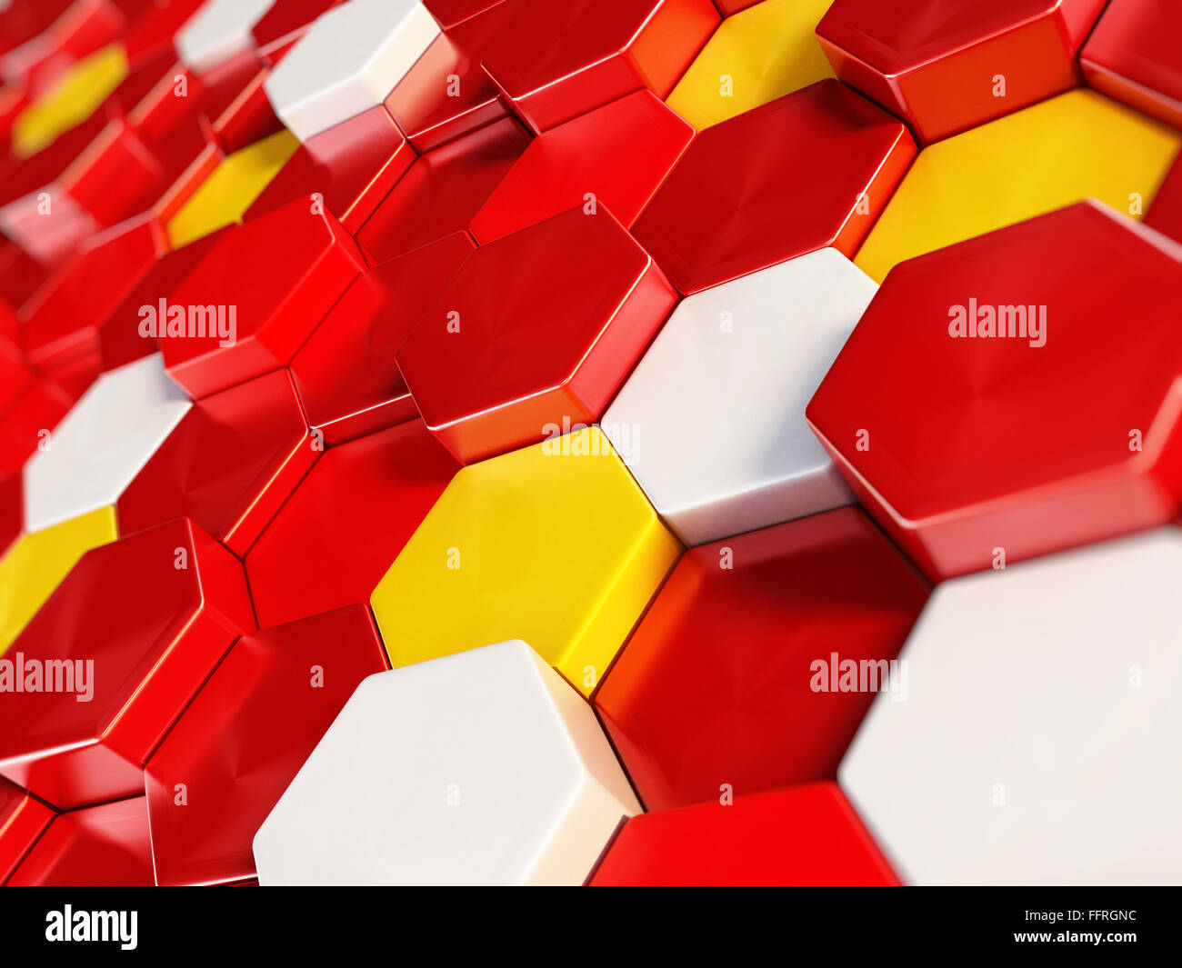 Abstract hexagonal background formed with white, yellow and red hexagon shapes. - Stock Image