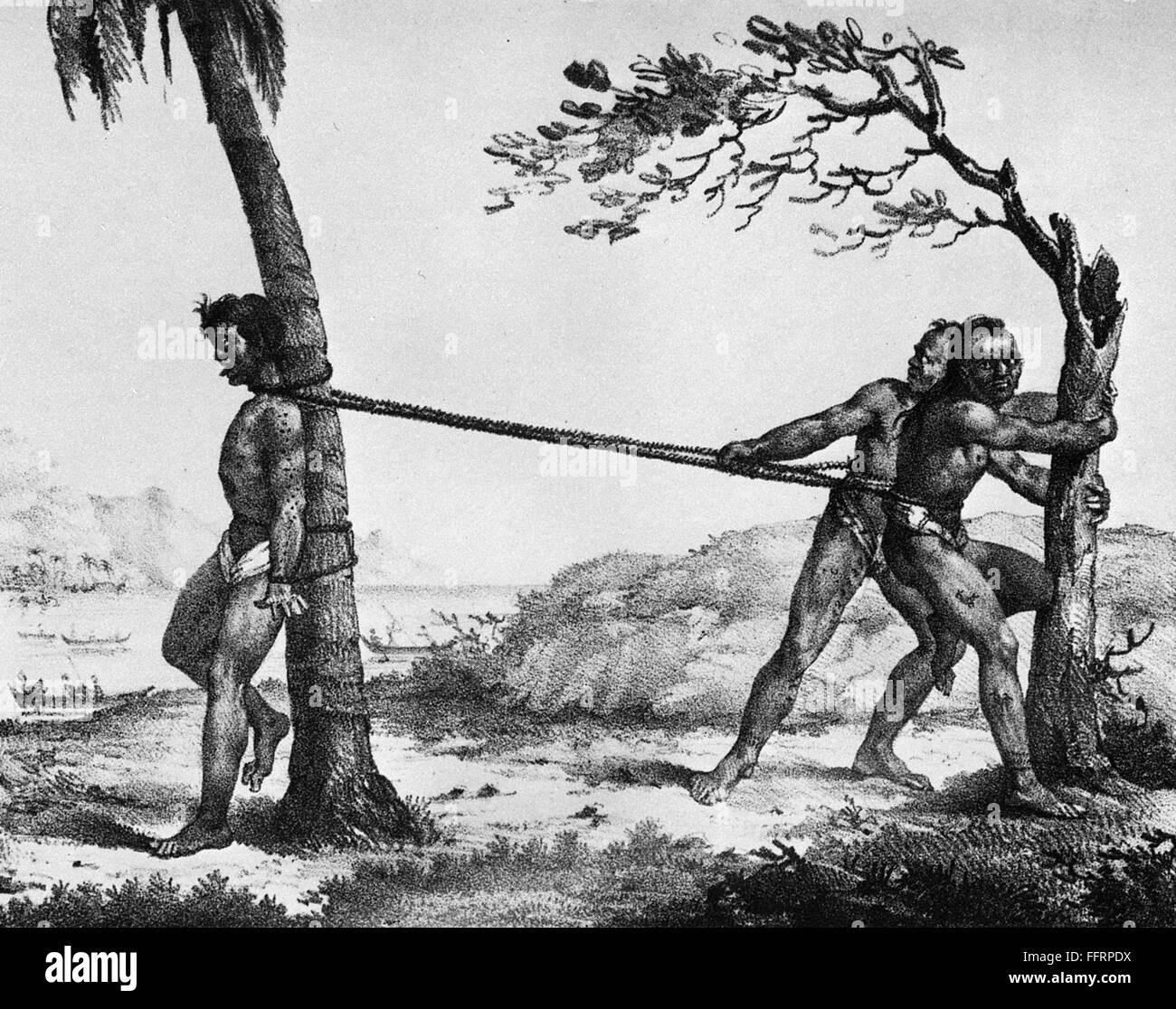 HAWAII: DEATH PENALTY, 1819. /nA native Hawaiian criminal is executed by  strangulation. Lithograph by Jacques Etienne Victor Arago, 1819.