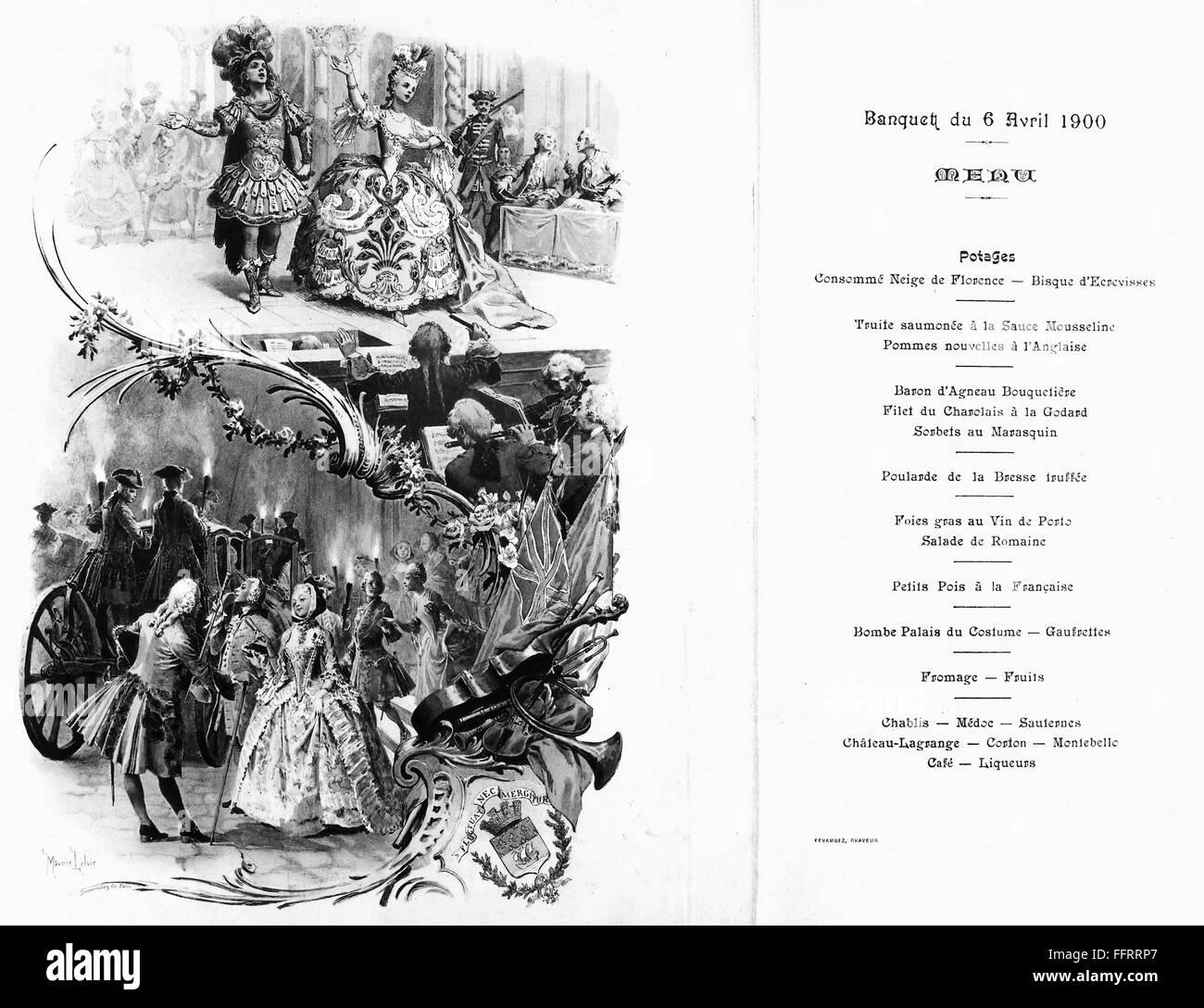 FRANCE: MENU, 1900  /nMenu for a banquet held at the