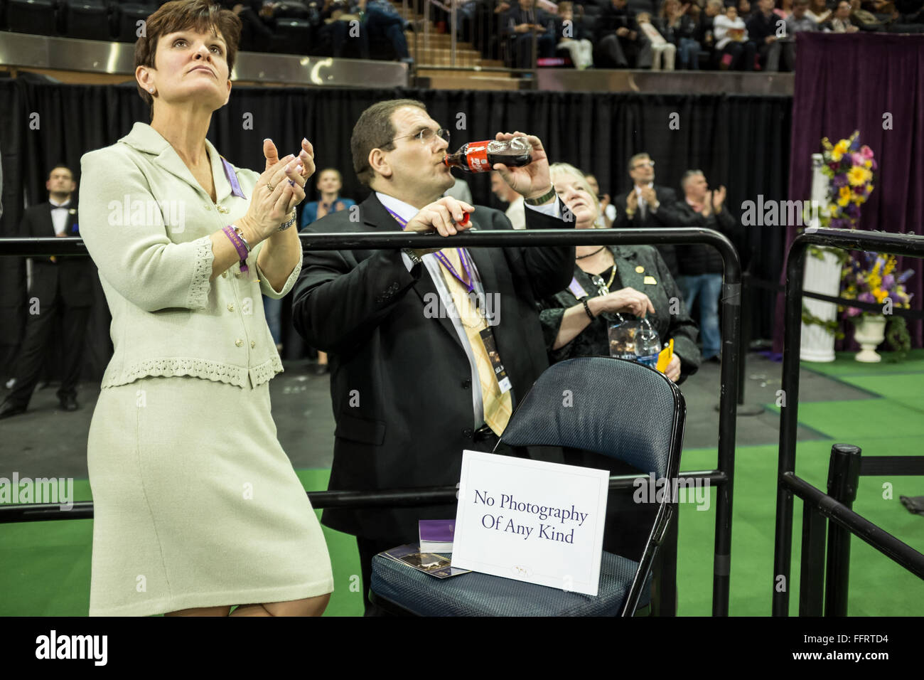 New York, USA. 16th February, 2016. Westminster Kennel Club officials on press risers during the Junior Division Stock Photo