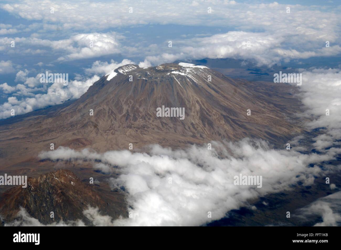 Mount Kilimanjaro, Kenya/Tanzania, from the air. - Stock Image