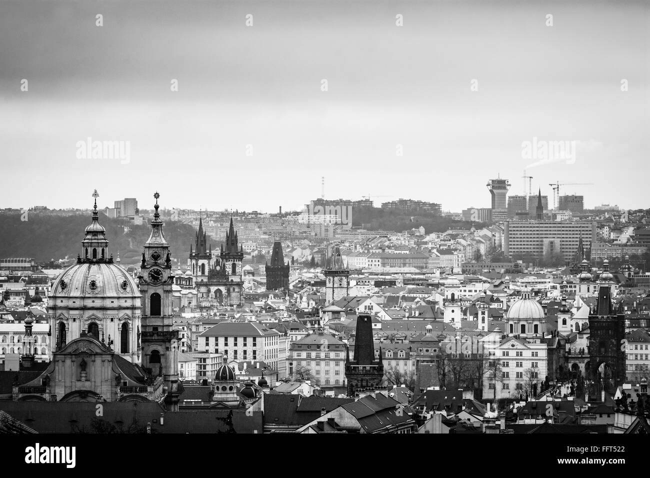 The Hundred spired Prague - The City of a Hundred Spires, if we look around from one of the look-out spots we can - Stock Image