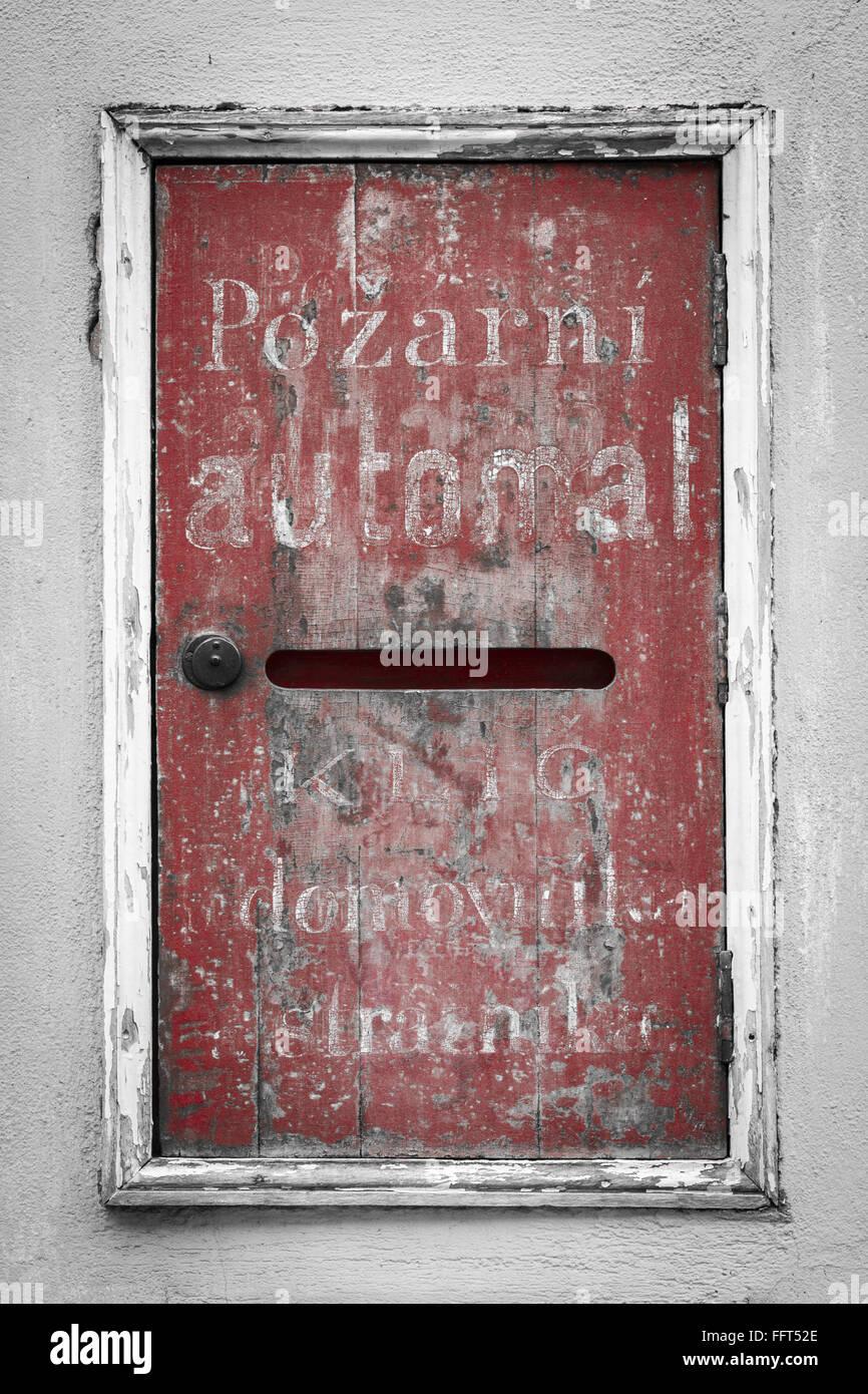 Vintage dry riser - detail from old town Novy Svet, Prague Hradcany castle alley - Stock Image