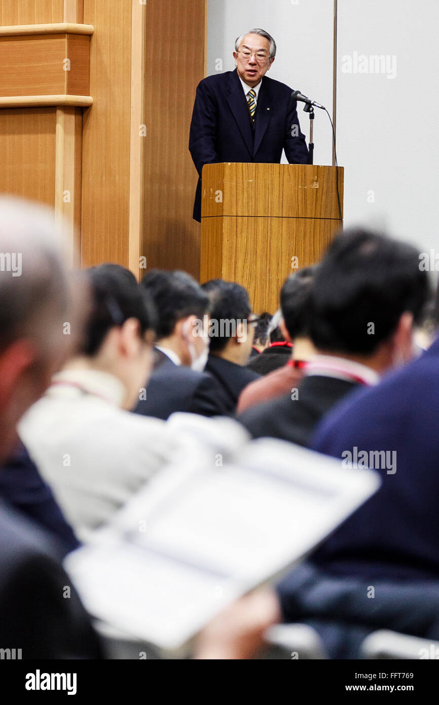Ryuichi Inagaki, Acting chairman of the Electricity Market Surveillance Commission, explains the liberalization - Stock Image