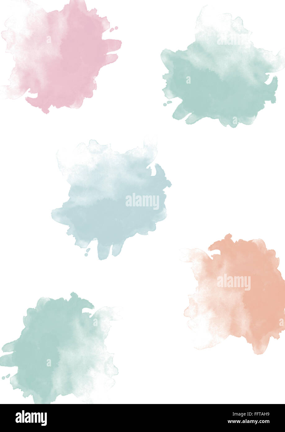 Aquarell Klecks Kleckse Dots Punkte bunt Aquarellfarbe Muster Aquarellstruktur farbenfroh blau rot gruen pink hellgruen Stock Photo