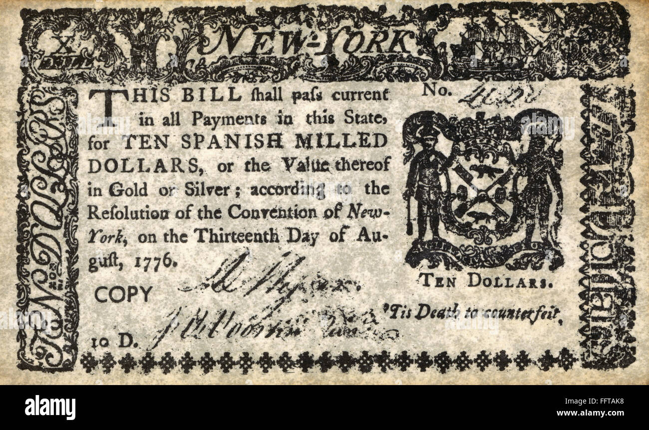 Nbill For Ten Spanish Milled Dollars Issued According To The Resolution Of The Convention Of New York