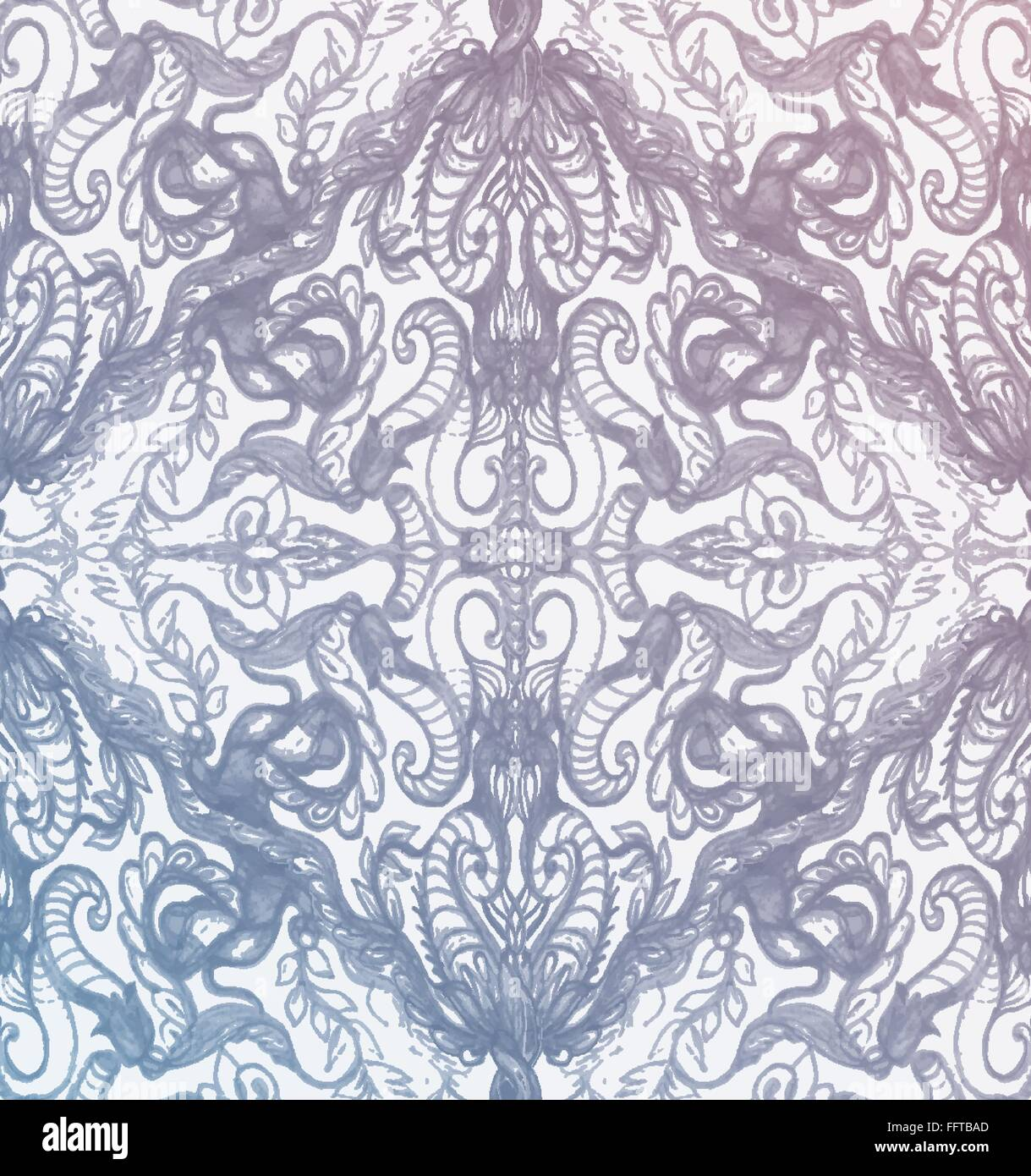 Vintage Pink And Blue Pattern Ornament With Clipping Mask - Stock Image