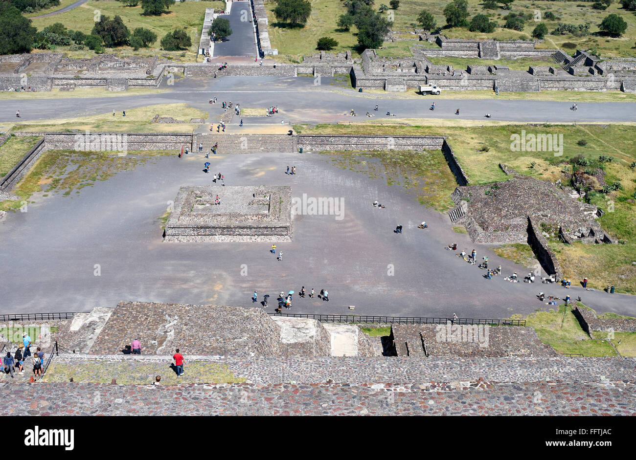 Top View on a part of the Pyramids of Teotihuacán in Mexico - Stock Image