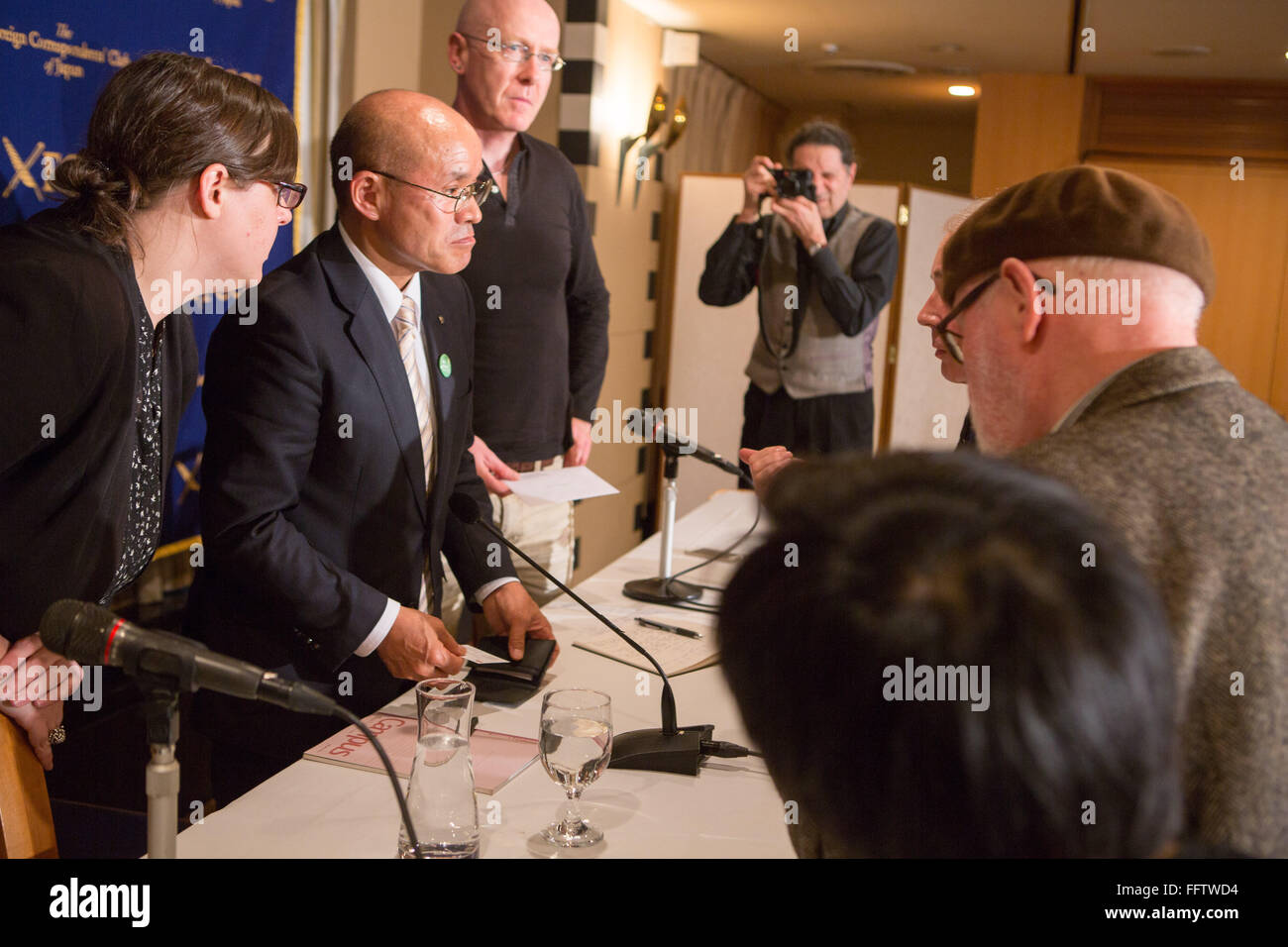 Tokyo, Japan. 17th February, 2016. Katsunobu Sakurai, Mayor of Minamisoma City in Fukushima speaks at the Foreign - Stock Image