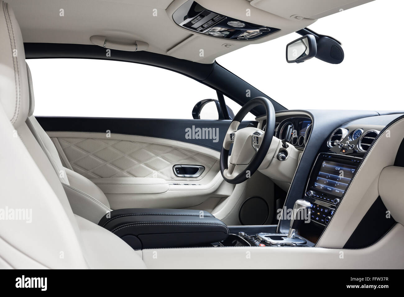 Car interior luxury. Steering wheel & dashboard. Cleaning and detailing car service. - Stock Image