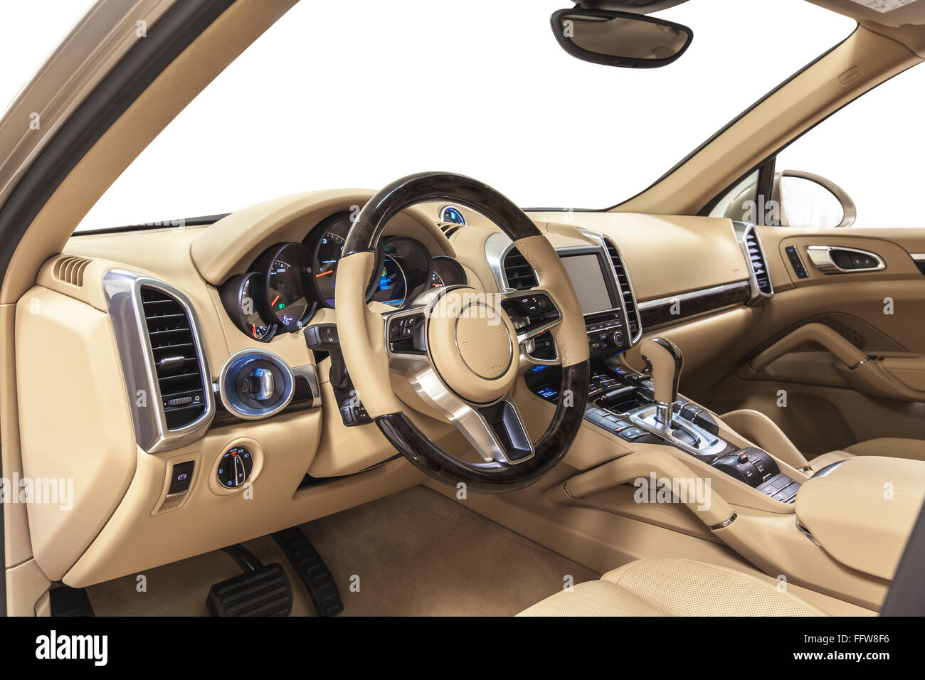 Car steering wheel interior luxury. Dashboard, shift, climate control. Cleaning and detailing car service. - Stock Image